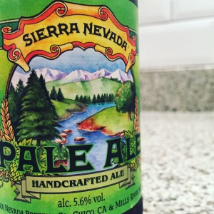 The distinctive green label and Illustration of Sierra Nevada Pale Ale
