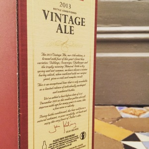 Vintage Ale packaging with detailed write up on 2013 Vintage