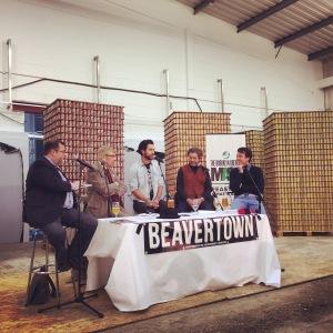 State of the Craft Beer Panel (L-R) John Holl, Roger Protz, Logan Plant, Steve Hindy, Jasper Cuppiage